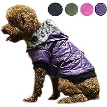 Systond Impermeable Pet Dog Warm Coat Cazadora con capucha Chaqueta gruesa ropa de abrigo con Arnés