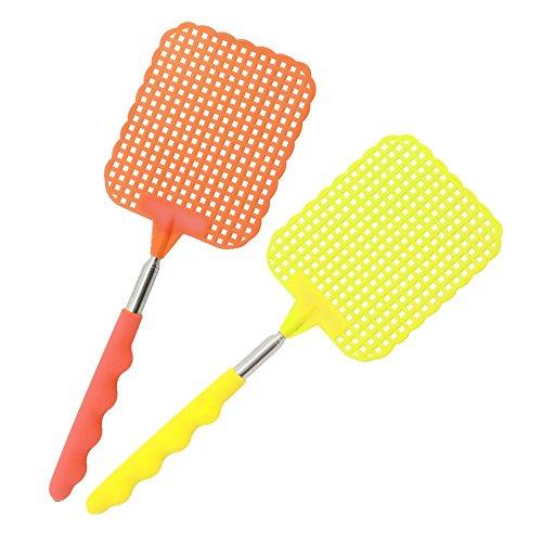 com-four® 2 Teleskop-Fliegenklatschen zum ausziehen, Farben: Gelb und Orange, 24-56 cm ausziehbar (02 Stück - orange/gelb)