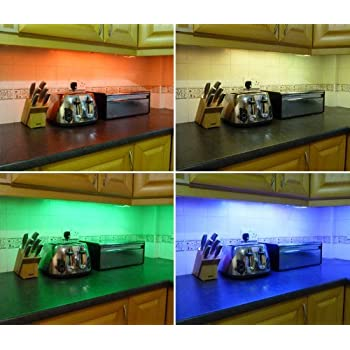 ossuncolour changing rgb led kitchen under cabinet lighting set includes 2 x 50cm led strips wireless controller u0026 supply fantastic led lighting