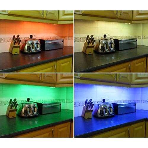 Kitchen unit lights amazon ossuncolour changing rgb led kitchen under cabinet lighting set includes 2 x 50cm led strips wireless controller supply fantastic led lighting workwithnaturefo