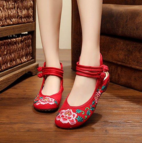 ZLL Gestickte Schuhe, Leinen, Sehnensohle, ethnischer Stil, weibliche Schuhe, Mode, bequem, Sandalen Red