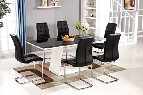 MURANO Black/White High Gloss Glass Dining Table Set And 6 Leather Chairs  Seater Part 56