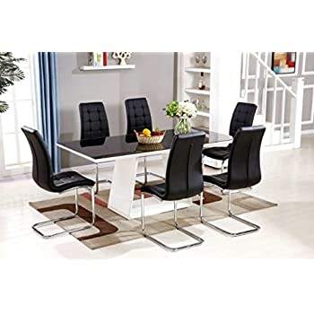 MURANO Black White High Gloss Glass Dining Table Set And 6 Leather Chairs Seater