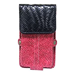 Jo Jo A6 Bali Series Leather Pouch Holster Case For Spice Mi-528 Red Black