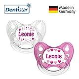 Dentistar® Silikon Schnuller 2er Set inkl. 2 Schutzkappen - Nuckel Größe 1 von Geburt an, 0-6 Monate - zahnfreundlich und kiefergerecht   Leonie