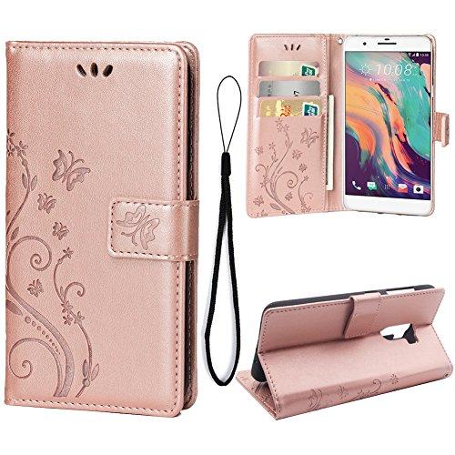 Teebo Hülle für HTC ONE X10 Schutzhülle aus PU Leder Handyhülle mit geprägtem Schmetterling-Muster Kartenfach und Magnetverschluss Rose Gold