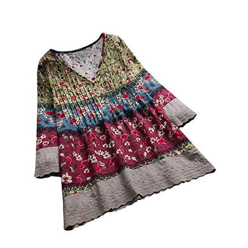iHENGH Damen Bequem Mantel Lässig Mode Jacke Frauen Frauen mit Langen Ärmeln Vintage Floral Print Patchwork Bluse Spitze Splicing Tops(Wein, 2XL)