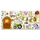 Wandkings Bauernhof Tiere Wandsticker XL Set, 66 Aufkleber, Gesamtfläche 130 x...