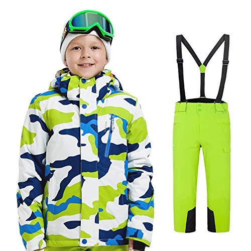 LPATTERN Traje de Esquí para Niños/Niñas Traje Conjunto de Nieve Impermeable para Deportes de Invierno, Blanco+Verde, 140/8-9 años