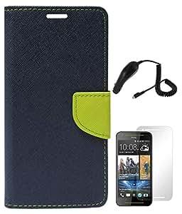DMG Mercury Goospery Premium Wallet Cover Case for HTC Desire 700 (Pebble Blue) + Car Charger + Matte Screen