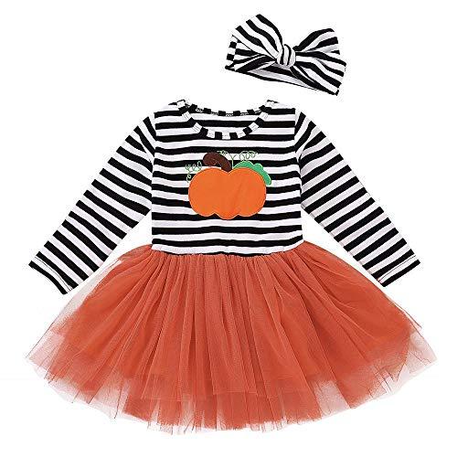 Wang-RX Kinder Baby Mädchen Kürbis Baumwollmischung Langarm Striped Print Halloween Kleid Stirnbänder Set Tutu -