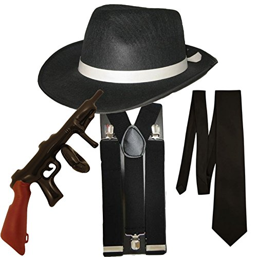 4 Stück Kostüm (Schwarz) (Gangster Fancy Dress Kostüme)