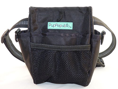PupRepublic Dog Treat Bag – New Larger Training Treat Pouch Bag With Poo Bag Dispenser – strong Magnetic Closure, adjustable Reflective Belt Or Shoulder Strap – The Perfect Dog Walking Bag