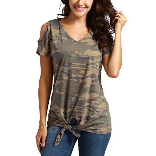 LeeY Damen Sexy Casual Schulterfrei T-Shirt Tops V-Ausschnitt Camo Drucken Bandage Bluse Oberteile Frauen Mode Baumwolle Shirt Top Hemd Unterhemd Beiläufig Kurzarm Tops Blusen Tunika (Tarnung, S)