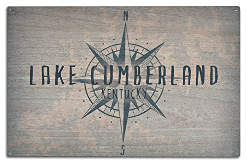 Lake Cumberland, Kentucky – Lake Essentials – See und Kompass, holz, mehrfarbig, 10 x 15 Wood Sign (Kentucky Holz-rahmen)