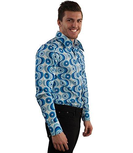 70ger Jahre Muster Hemd Waves blau Blau hellblau weiß