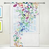 JSTEL Notenschlüssel, mit Blumenmuster, Tüll, für Tür, Fenster, Vorhang-Panel, Schal-Volants, Gaze, Schlafzimmer, 55x 78cm, Einzelbett, Polyester, 55 x 78 Inch