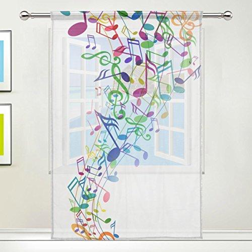 jstel Musik Note Muster Floral Print Tüll Voile Tür Fenster Zimmer Sheer Vorhang Tuch 1Panel Schal Volants breit Breite Gaze Vorhang für Schlafzimmer 139,7x 198,1cm, Single Panel, Polyester, 55 x 78 Inch
