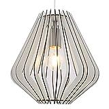 Briloner Leuchten – Pendelleuchte, Lampenschirm aus weißem Holz, Wohnzimmerlampe, retro/vintage, Pendellampe, E27, max. 40W, matt-nickel