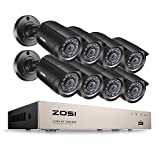 ZOSI CCTV Camera Kit, 8CH TVI-720P CCTV Camera Systems Recorder Included and (8)