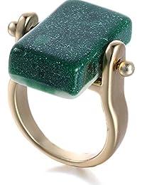 Geométrica Resina oro plateado aleación anillos para las mujeres verde