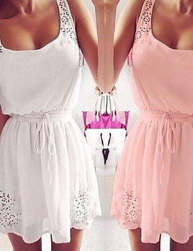 GSP-Combinaisons Aux femmes Sans Manches Vintage/Sexy/Plage/Décontracté/Mignon/Soirée/Grandes Tailles Mousseline de soie Moyen Micro-élastique white-s
