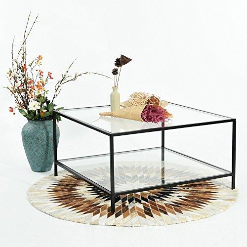 Fit @ Home Couchtisch Stilvolle Top Beistelltisch, quadratisch, aus Glas mit schwarzem Rahmen
