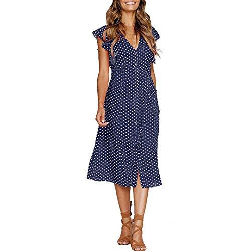 SMILEQ Dress Women Dot Print Tank V Neck Sundress Sleeveless Casual Summer Mini Skirt