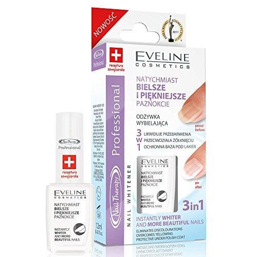 Eveline Cosmetics Nail Therapie Nail Whitener 3in1Whitening Klimaanlage gegen Verfärbungen 12ml
