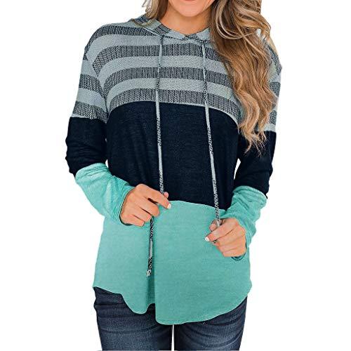 Splrit-MAN Damen Pullover Hoodie Sweatshirt Pullover Oberteile Freizeit Striped Kapuzenpullover V Ausschnitt Patchwork Pulli mit Zip Stitching Jumper Hoodie Bluse -