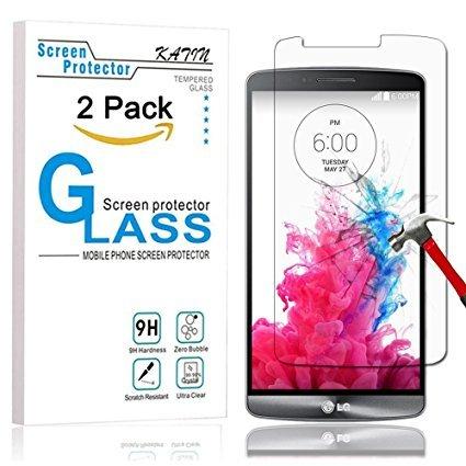 KATIN LG G3Displayschutzfolie-[2er Pack] LG G3gehärtetem Glas Displayschutzfolie Bubble Gratis, 9H Härte mit Lebenslange Umtausch-Garantie (Lg G3 Gratis)