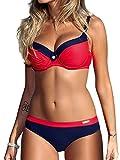 UMIPUBO Costumi da Bagno Push Up Imbottito Costumi da Mare Donna Due Pezzi Bikini Sexy Spiaggia Beachwear Swimwear (M, Rosso Puro)