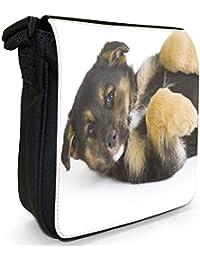 German Shepherd Puppy Dog On Back Small Black Canvas Shoulder Bag / Handbag