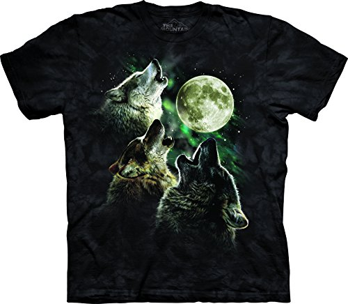 The Mountain Herren T-Shirt Three Wolf Moon Kurzarm - Schwarz - 3X-Groß -