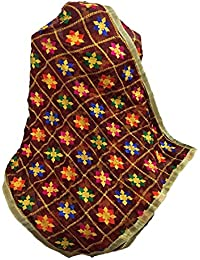 Beautiful Embroidered Phulkari Dupatta In Maroon Base