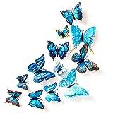 3D Schmetterlinge Doppelflügel Effekt Blumen 12er Set Dekoration Wandtattoo (Blau)