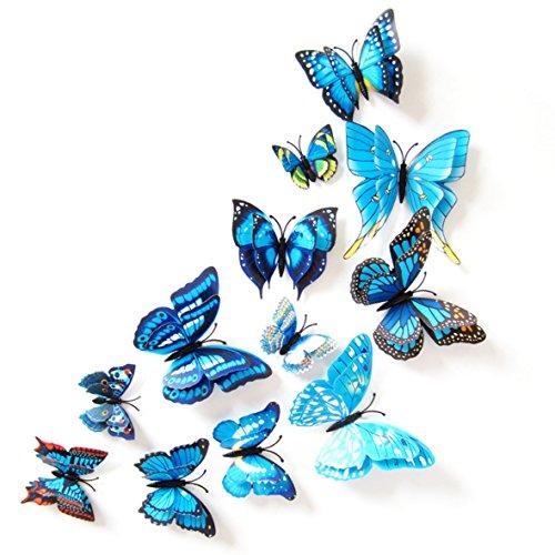 Oblique Unique 3D Schmetterlinge Doppelflügel Effekt Blumen 12er Set Dekoration Wandtattoo (Blau)