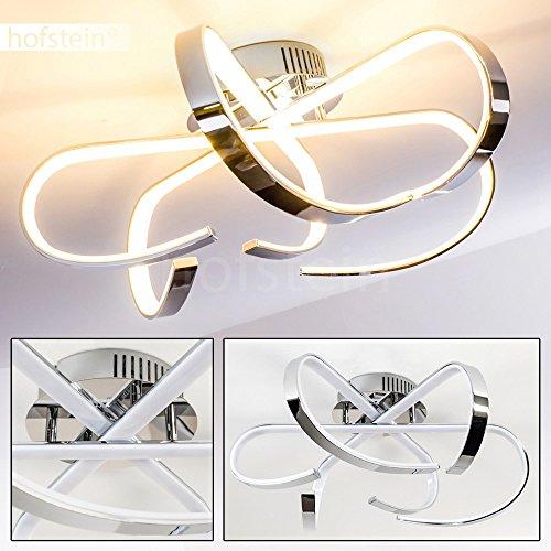 Moderne Deckenleuchte mit halbrunden Lichtarmen besetzt mit LED-Lichtleisten – Warmweißes Licht für gemütliche Feierabend-Stunden – Glänzende Metall-Leuchte für das Wohnzimmer – Esszimmerlampe – Flurlicht – Deckenstrahler