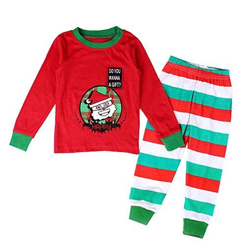KINDOYO Baby Jungen & Mädchen Weihnachten Kleinkind Fancy Party Kostüm Lange Ärmel Tutu Outfit Santa Neujahr Outfits Kinder Pyjamas Weihnachtskostüm Set , Rot