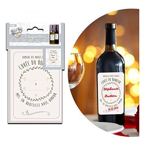 Les Trésors De Lily P9901 - Set de 12 étiquettes vin 'Cuvée du Bonheur' (spécial mariage) - 25x16.5 cm