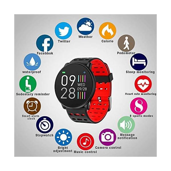 TDOR Smartwatch con Whatsapp Hombre Mujer Reloj Inteligente Android iOS Deportivo, Color Negro 2