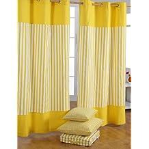 Homescapes Dekorativer Vorhang Ösenvorhang Dekoschal Thick Stripes Im 2er  Set, Gelb Weiß, 137 X