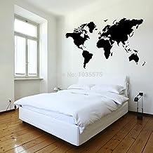 Mapa del Mundo Decoración Arte Mural Adhesivo Vinilo Pared decoración preciosa Casa Pegatinas 150 * 80cm
