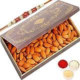 Ghasitaram Gifts Rakhi Gifts for Brothers Rakhi Dryfruits - Medium Wooden Almond Box with Red Pearl Rakhi