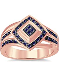 Silvernshine 1.35Ctw Round Cut Blue Sapphire Sim Diamonds 14K Rose Gold Plated Engagement Ring