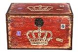 Truhe Kiste SJ14307 Krone, Wappen, Königin, England, Holztruhe mit Canvas bezogen im Vintage Look, Schatzkiste,Kiste, Piratenkiste, Kleinmöbel, Mit Metallbeschlägen, Antikoptik, Holz, verschieden Größen, Maritim, Deko, Hochwertig, Kolonialtruhe, Kolonialstil, Holzbox, Truhe mit Ornamenten (Größe XXL 69cmx43cmx41cm Rot)