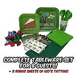 Juego de platos y cubiertos para fiestas temáticas de Minecraft, para 8 personas, incluye platos, vasos, tenedores, cucharas, servilletas, globos, mantel personalizado y 8 tatuajes temporales para niños