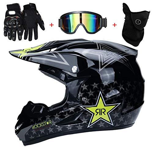 TKUI Motocross Helm Integralhelm Sonnenschutzhelm Motorradhelm Cross Sturzhelm Erwachsene Belüftet Downhill Integralhelm Enduro ATV Quad Offroad Helm DOT Genehmigt Für Erwachsene Männer,M(54~55cm)