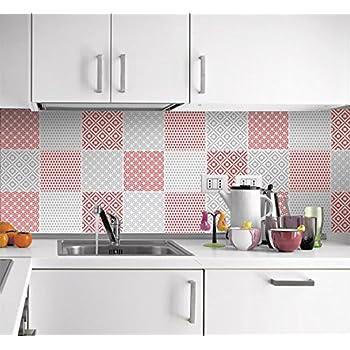 sticker muraux carrelage pour cuisine motif rouge et gris pack avec 24 10 x 10 cm. Black Bedroom Furniture Sets. Home Design Ideas