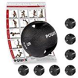 Gymnastikball - Medizinball mit Griffen Profi 3 - 10 kg von POWRX | schwarz Gewichtsball Studioqualität schwarz (5 kg)